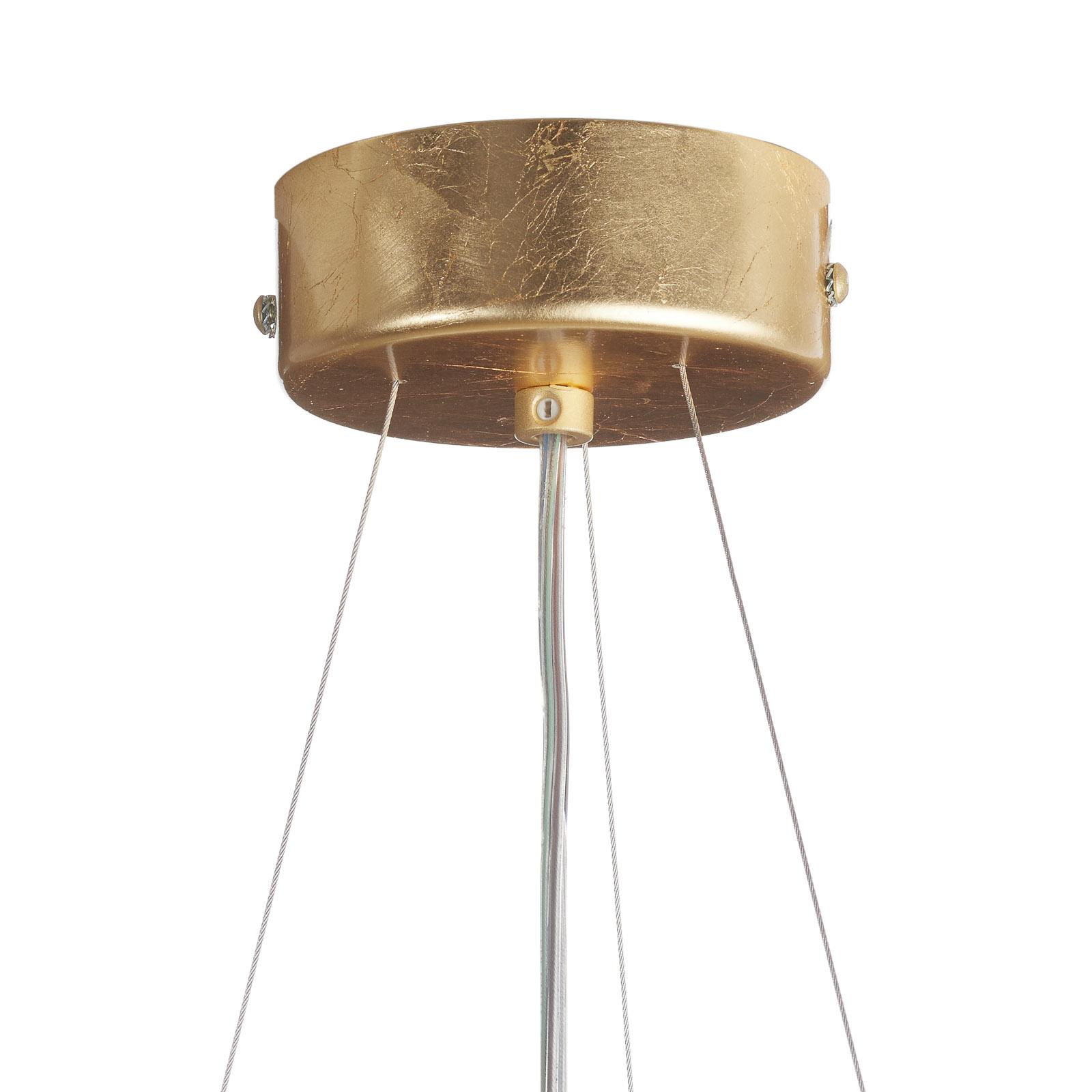 Lampa wisząca Pura z płatkowym złotem 60cm, 3x E27