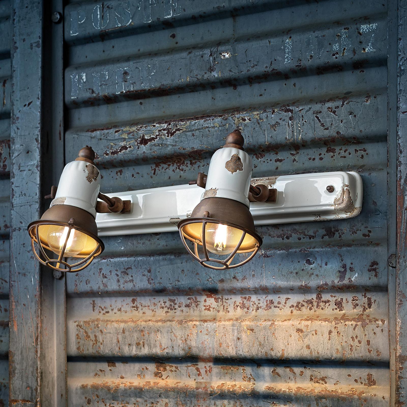 Wandlampe C1676/1 mit Korb, zweiflammig, weiß