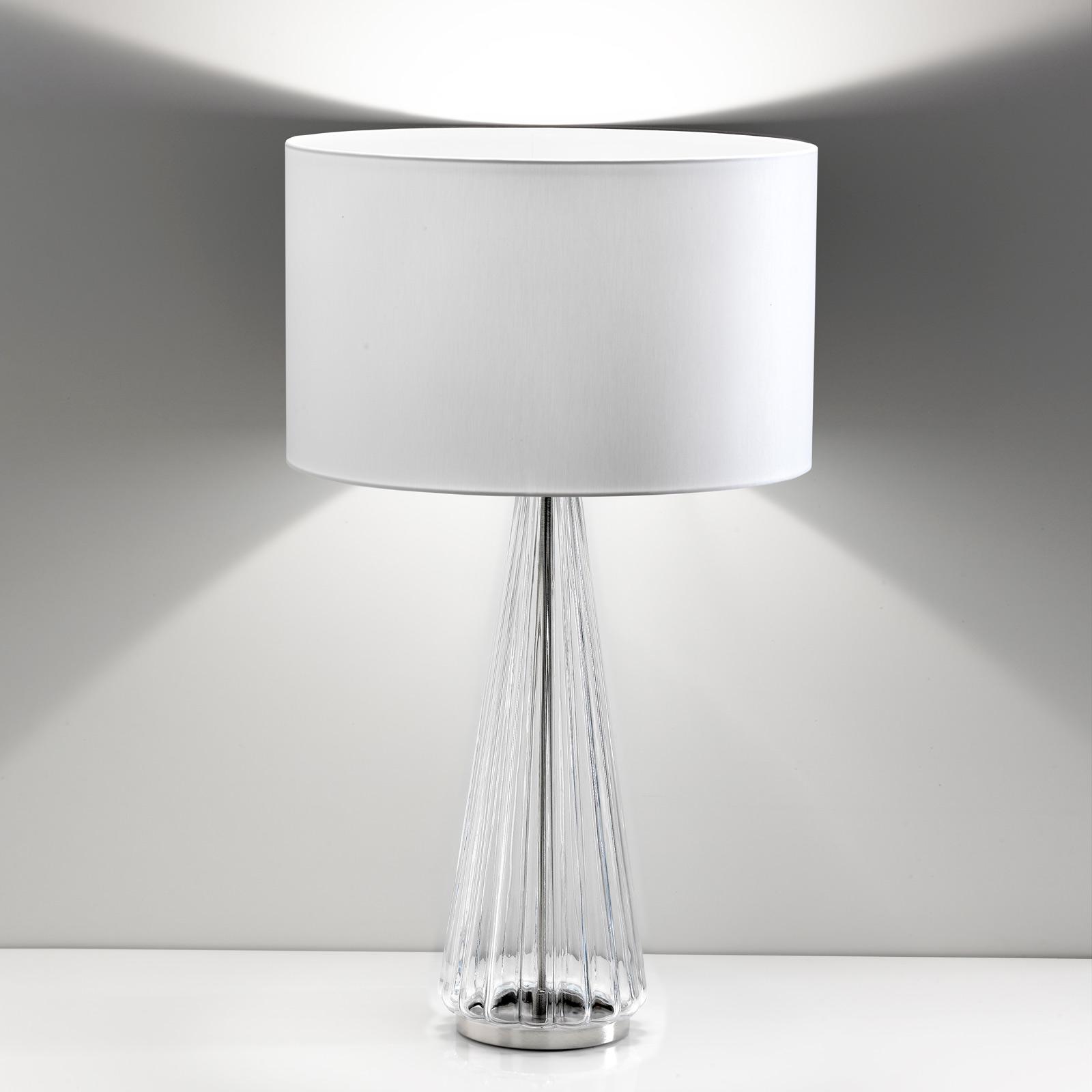 Bordslampa Costa Rica skärm vit, fot genomskinlig