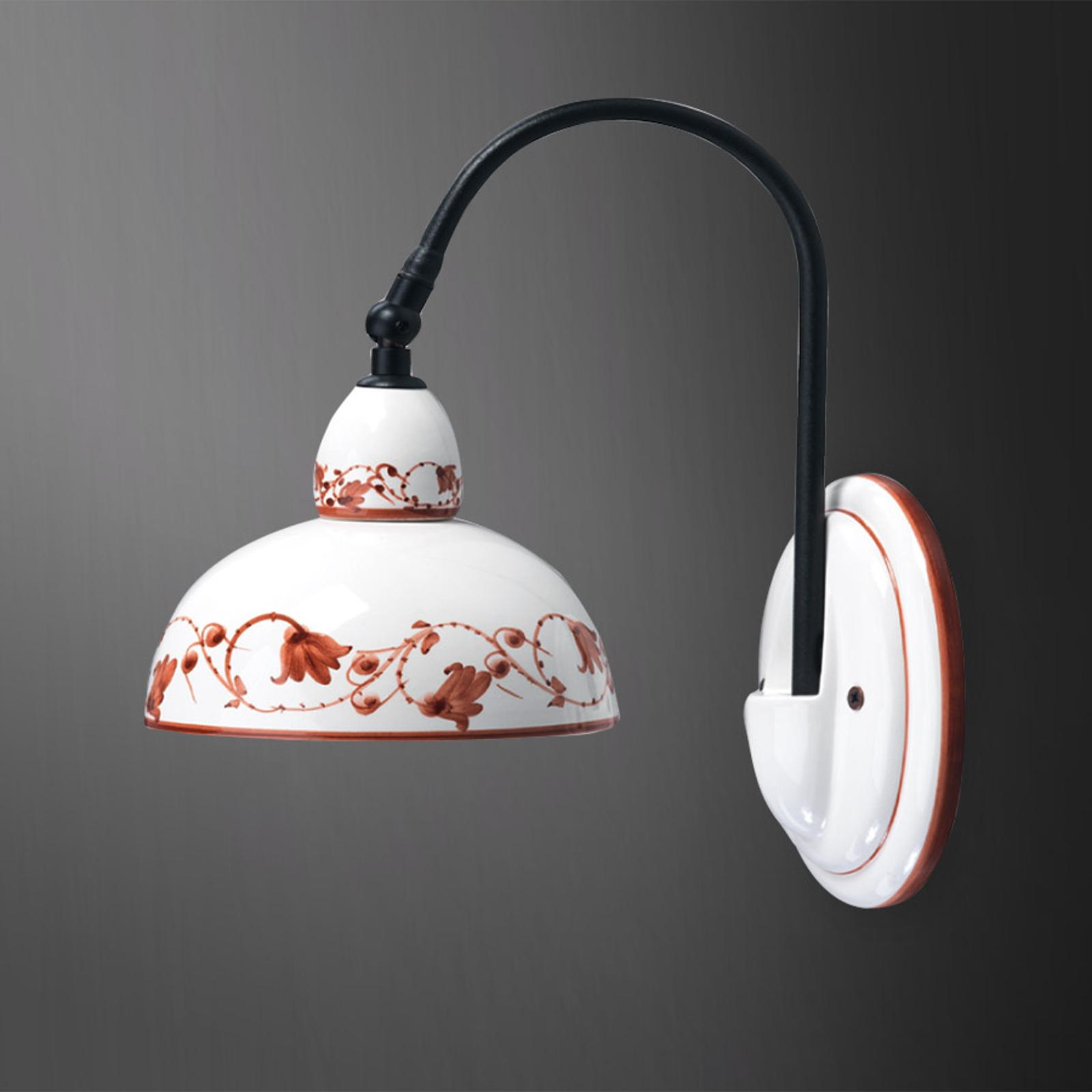Keramieken wandlamp Murano II met bruin motief