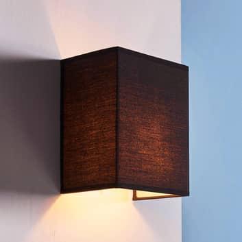 Schwarze Stoffwandlampe Annalisa, eckige Form