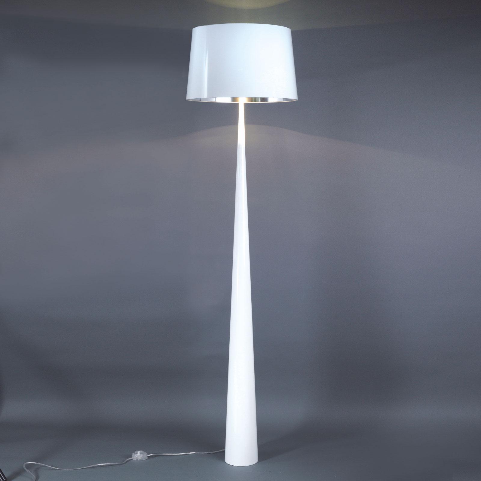 Lampadaire Totem LS à la finition chromée, blanc