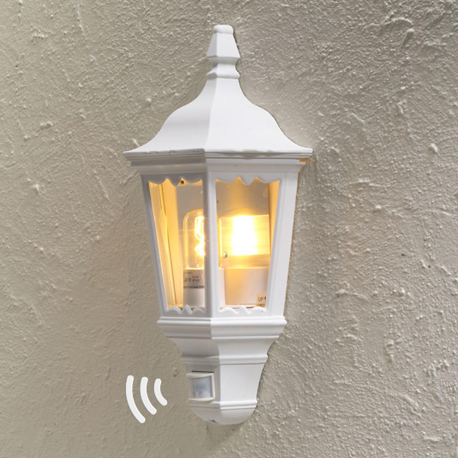 Utomhusvägglampa Firenze halvskål, sensor, vit