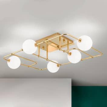 LED-taklampa Pipes i guld med glaskulor
