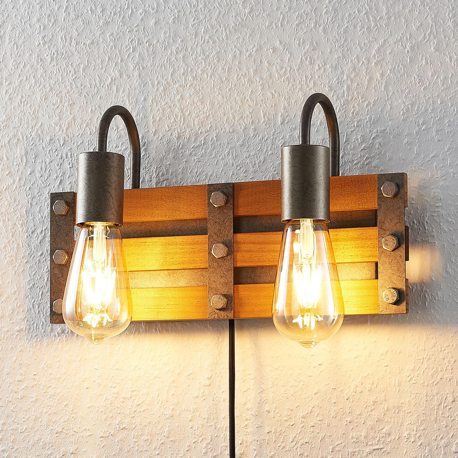 Lindby Jamina houten wandlamp, 2-lamps