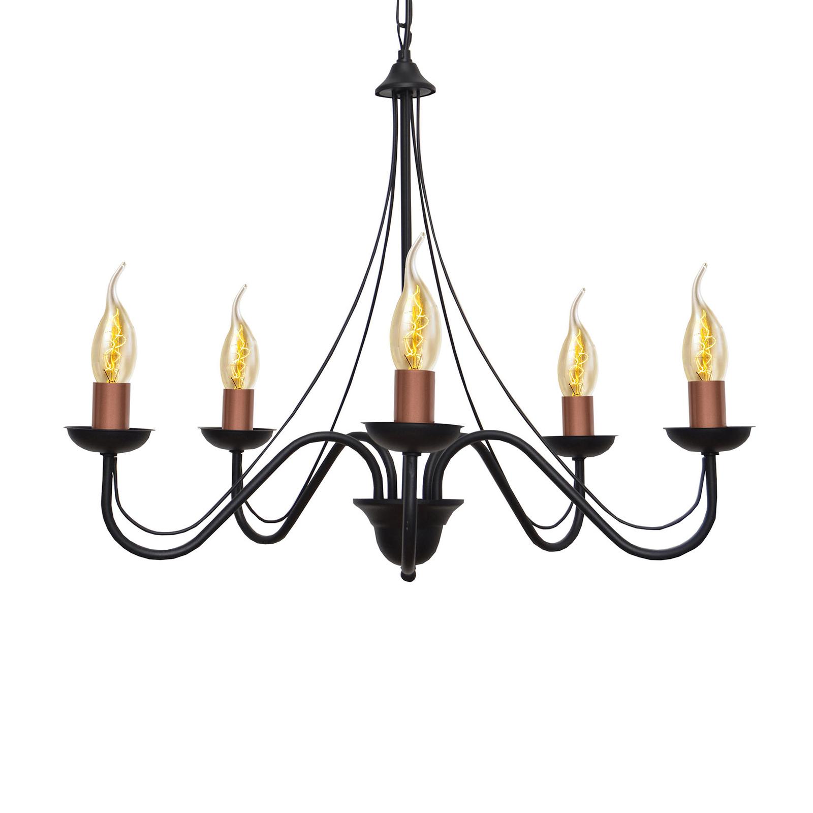 Ljuskrona Malbo 5 lampor i svart/koppar