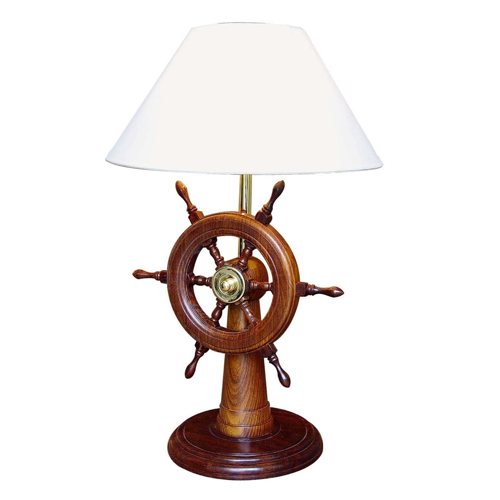Uitzonderlijke tafellamp HELMSTAND met hout