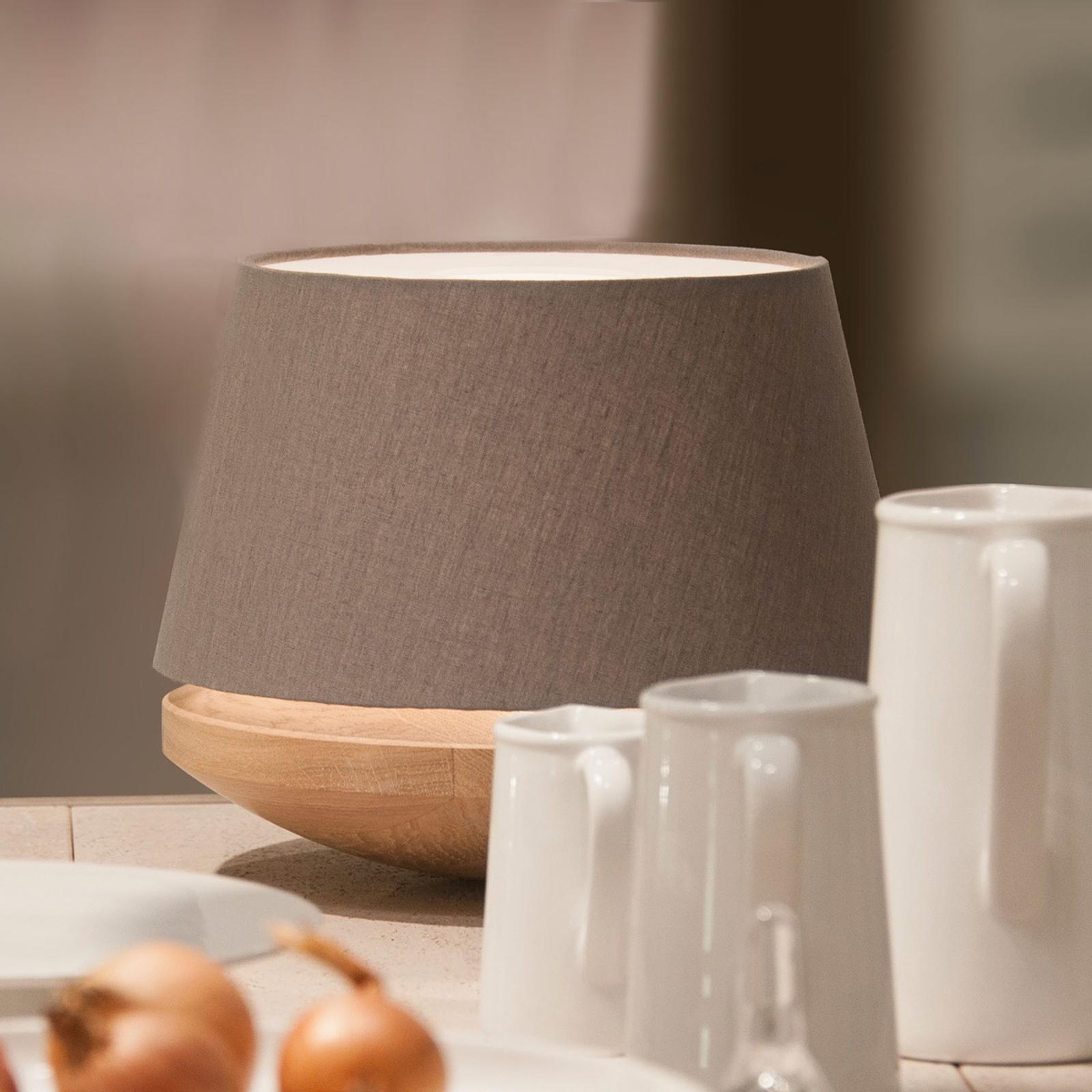 Drewno dębowe i len - lampa stołowa KJELL, iron