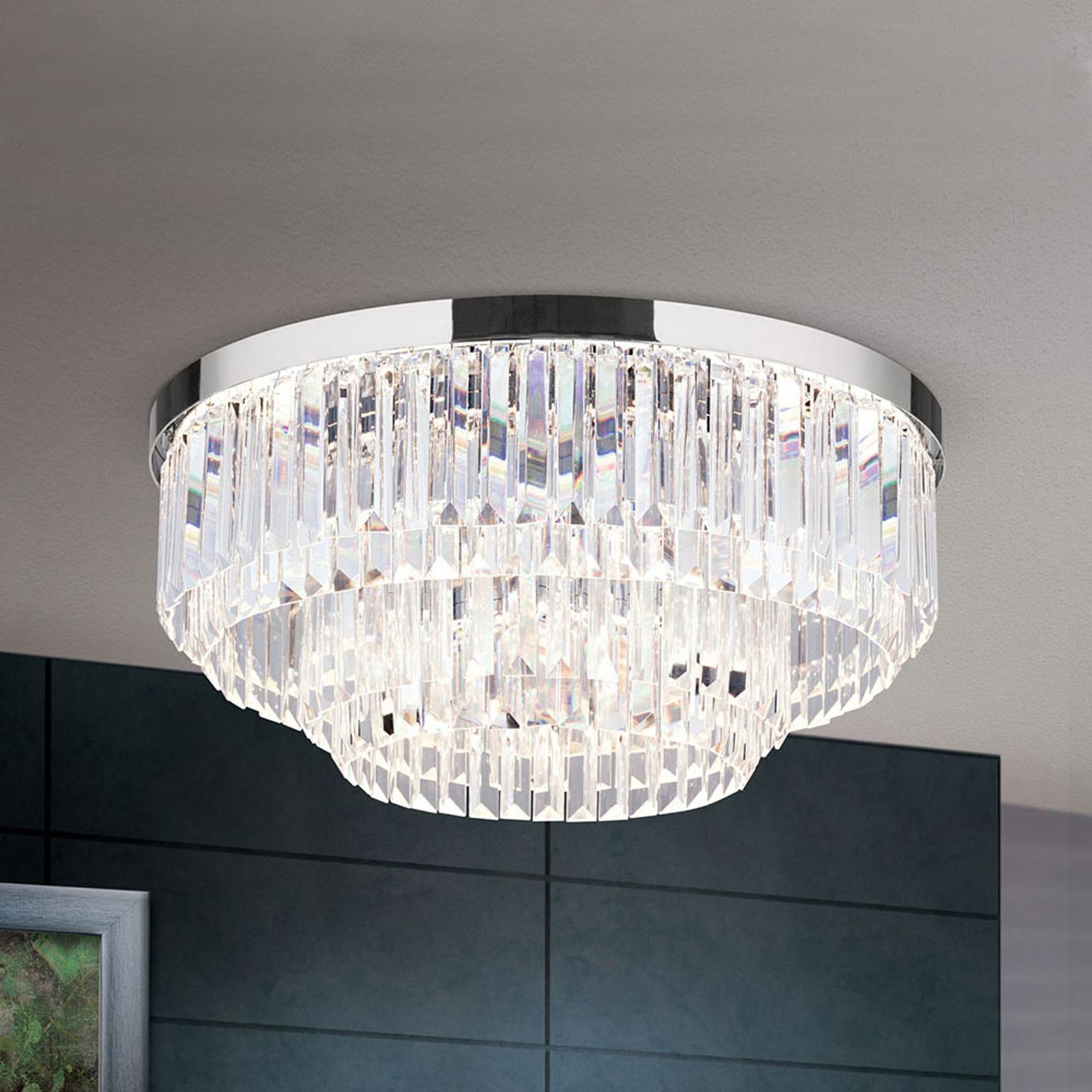 LED-taklampe Prism, krom, Ø 55 cm