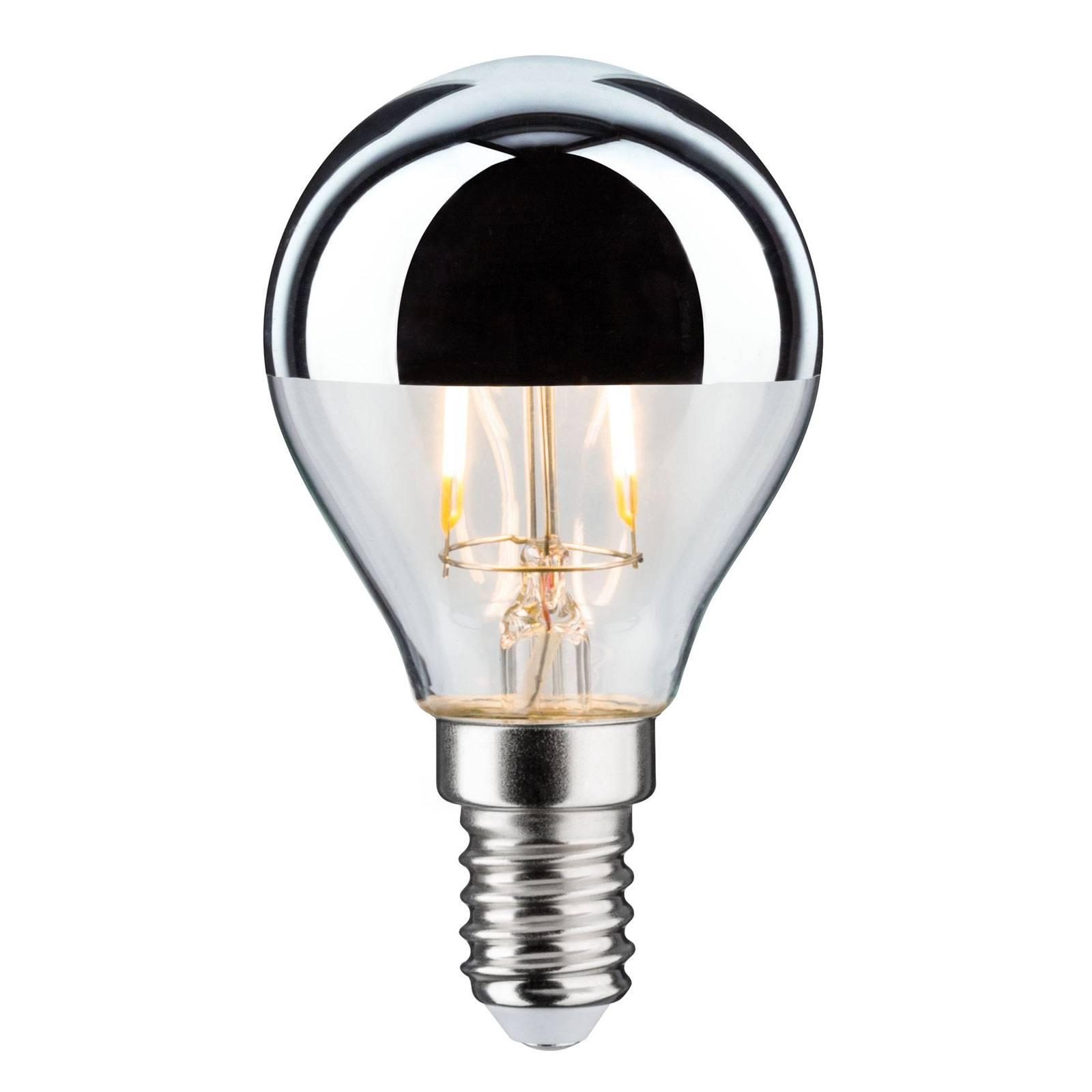 Lampadina LED E14 827 goccia dicroica argento 2,6W