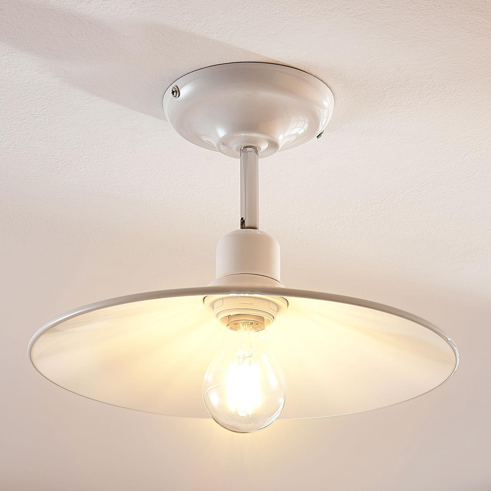 Hvit taklampe i metall Phinea, vintageutseende