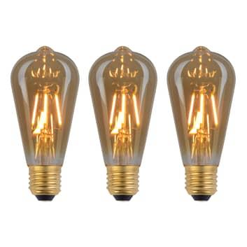 E27 rustikk LED-lyspære 4 W filament 3-er sett