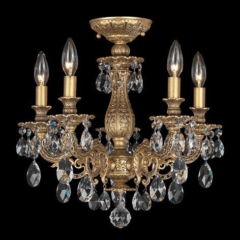 Bronskleurige plafondlamp Milano met kristallen