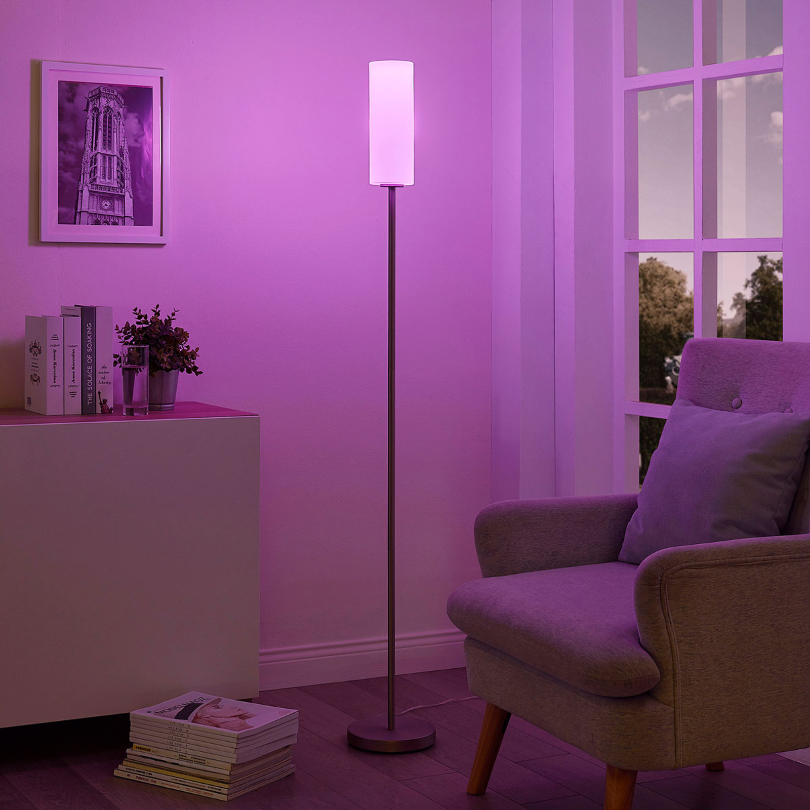 Lindby Smart lampadaire LED RVB Felice, appli