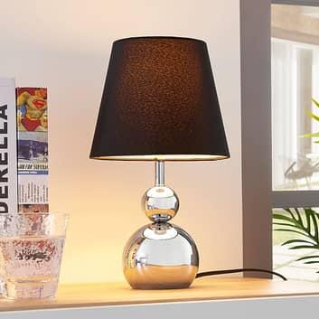 Chromowana lampa stołowa Andor z tkaniny, czarna