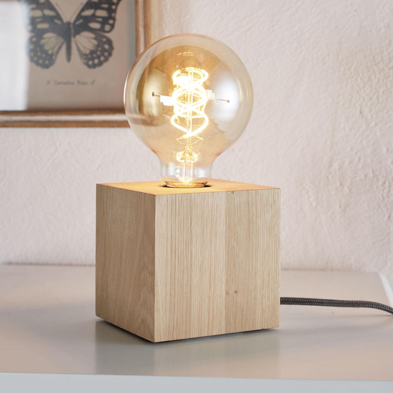 Kubusvormige tafellamp Trongo, antraciet kabel