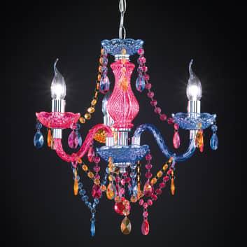 Lámpara de araña Perdita multicolor con 3 luces