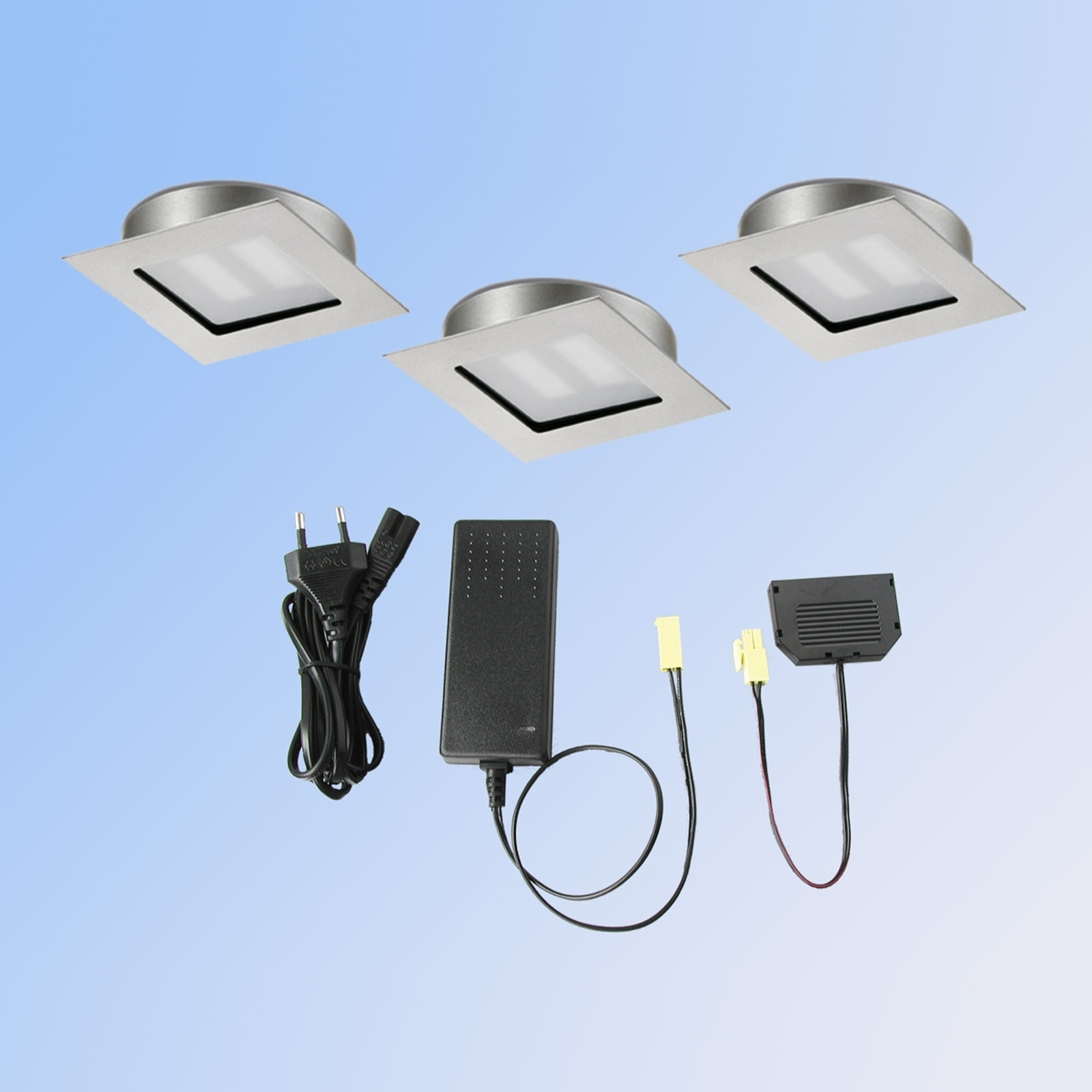 3del-set LED-inbyggnadsspot Cubic68 kvadrat nickel