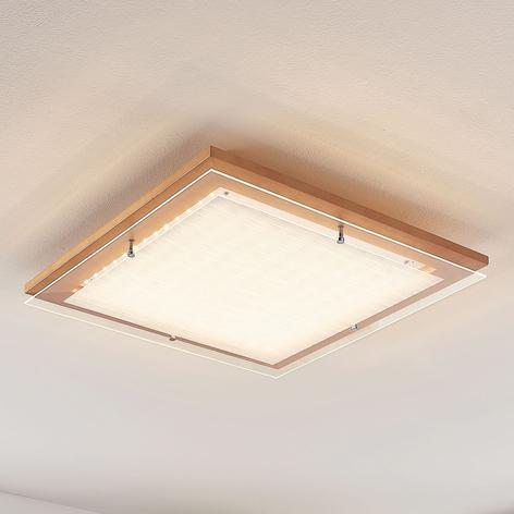 Holz-LED-Deckenleuchte Cattleya, quadratisch