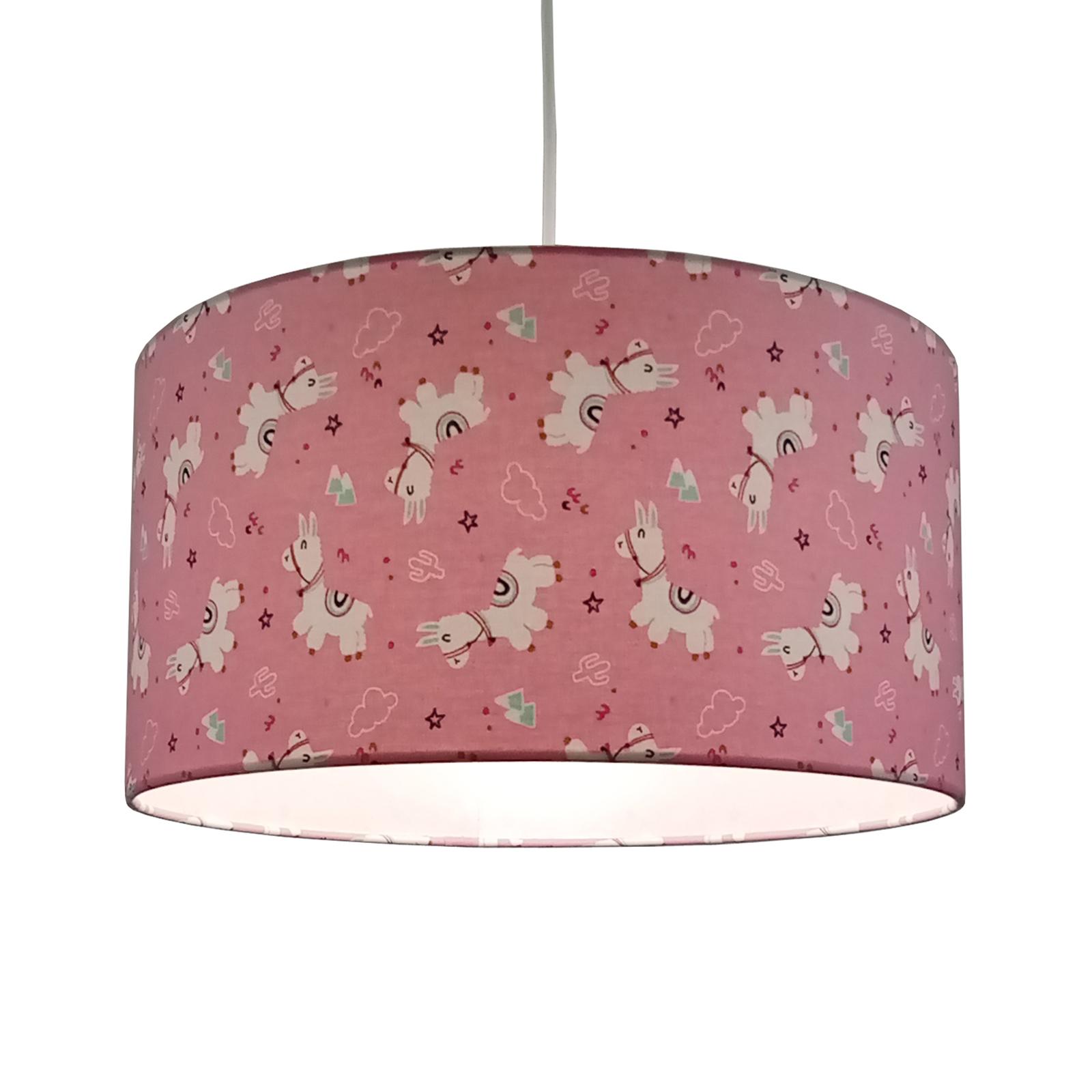 Textiel-hanglamp Alpakas in roze