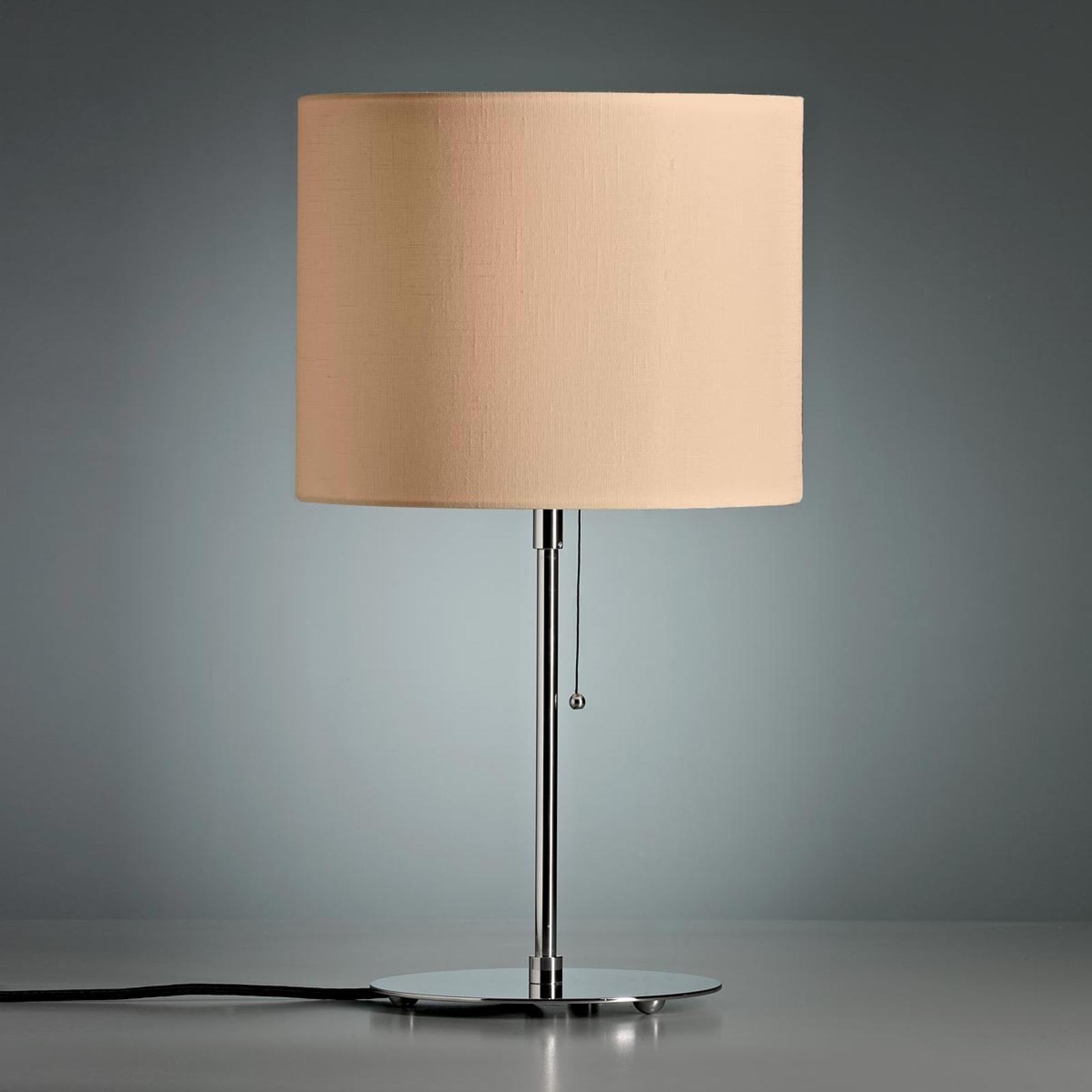Tafellamp met gekleurde linnen kap, naturel