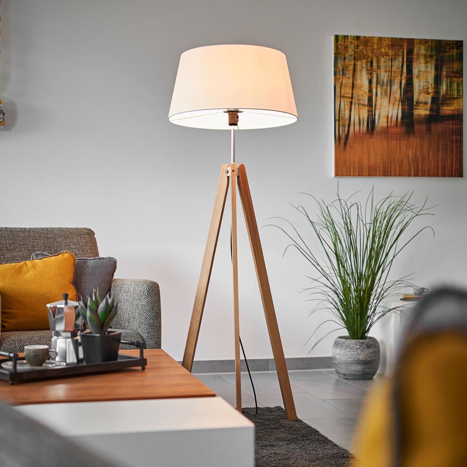 Textiel vloerlamp Thea met massief eiken frame