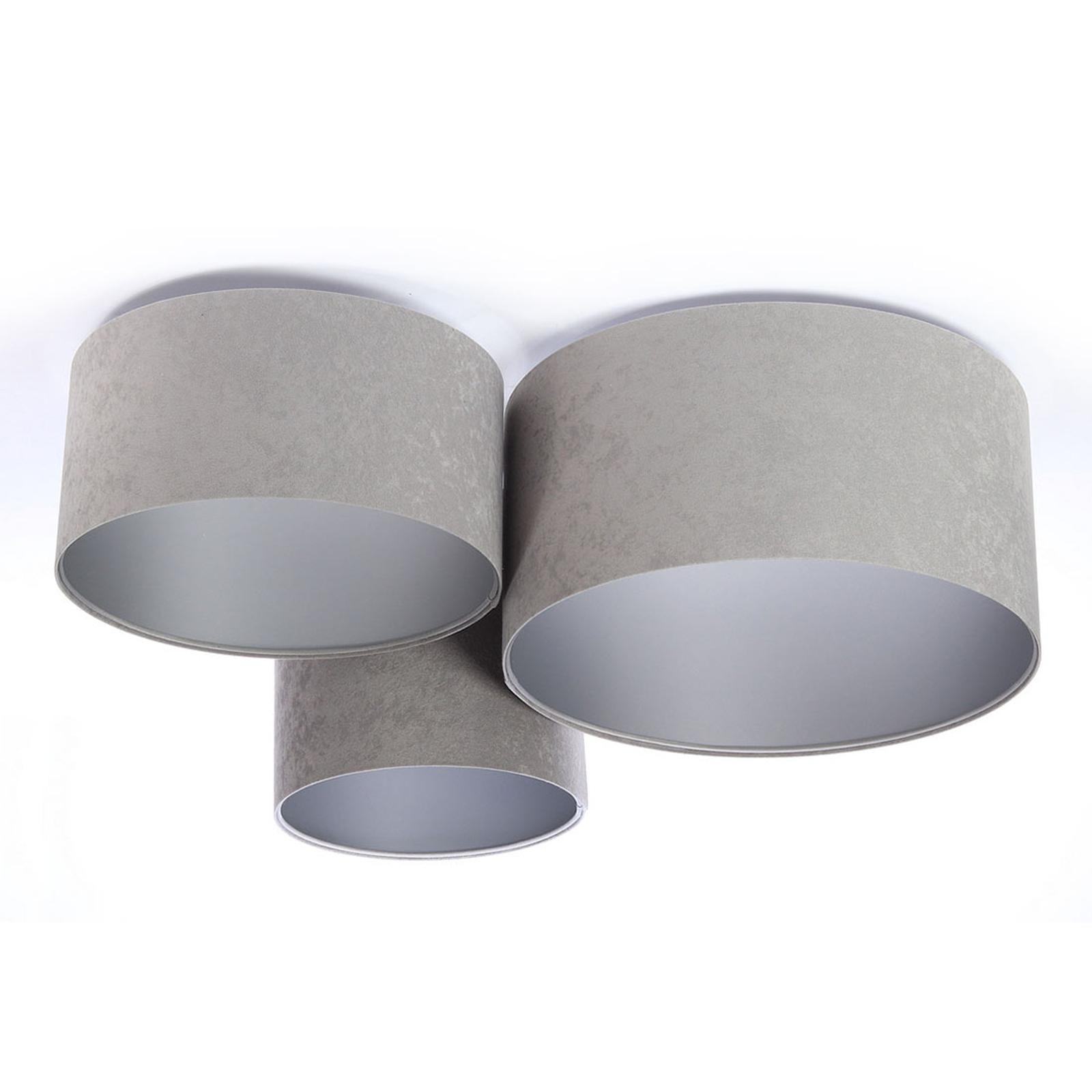 Taklampe 080, 3 lyskilder, lysegrå-sølv