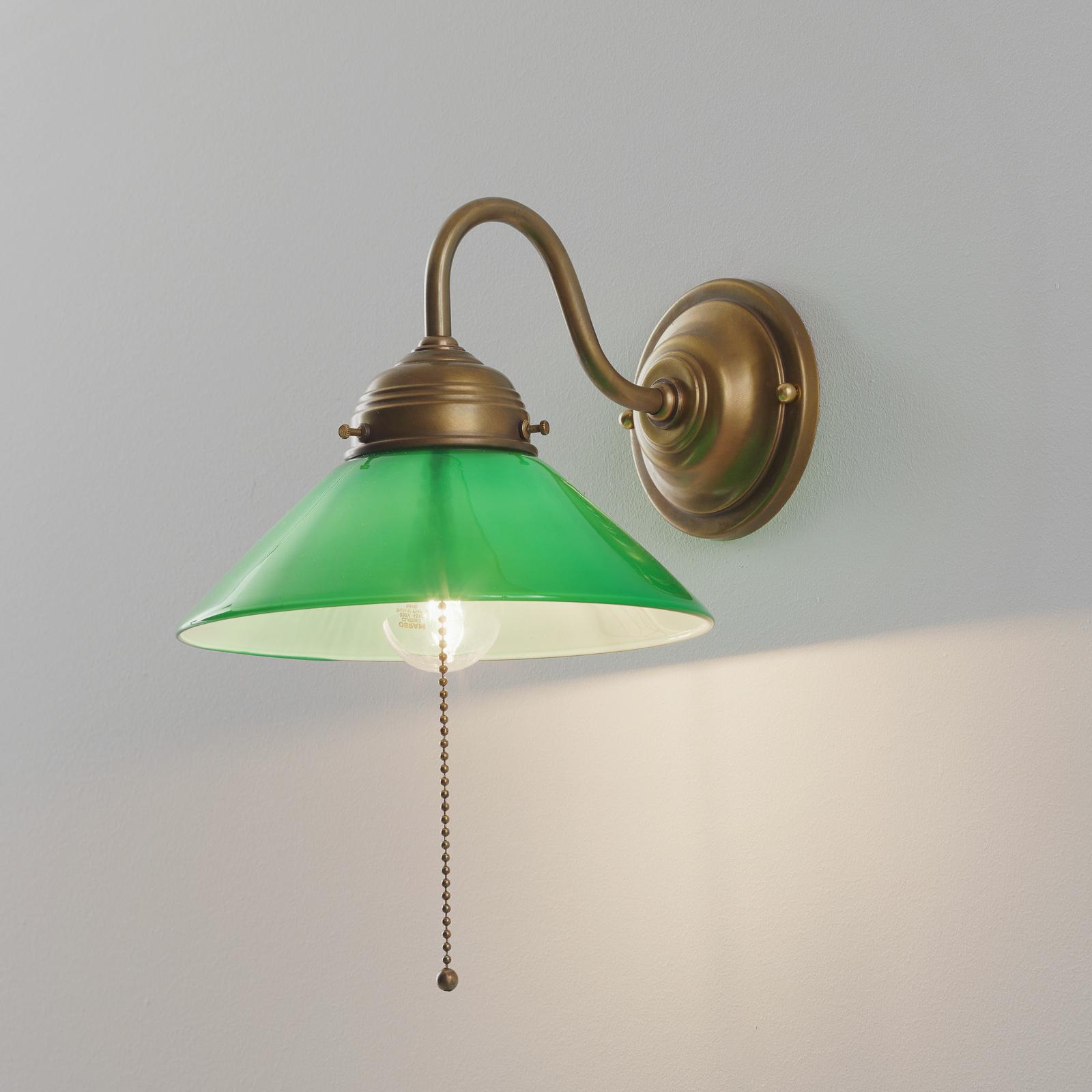 Lampa ścienna KONRAD z zielonym kloszem