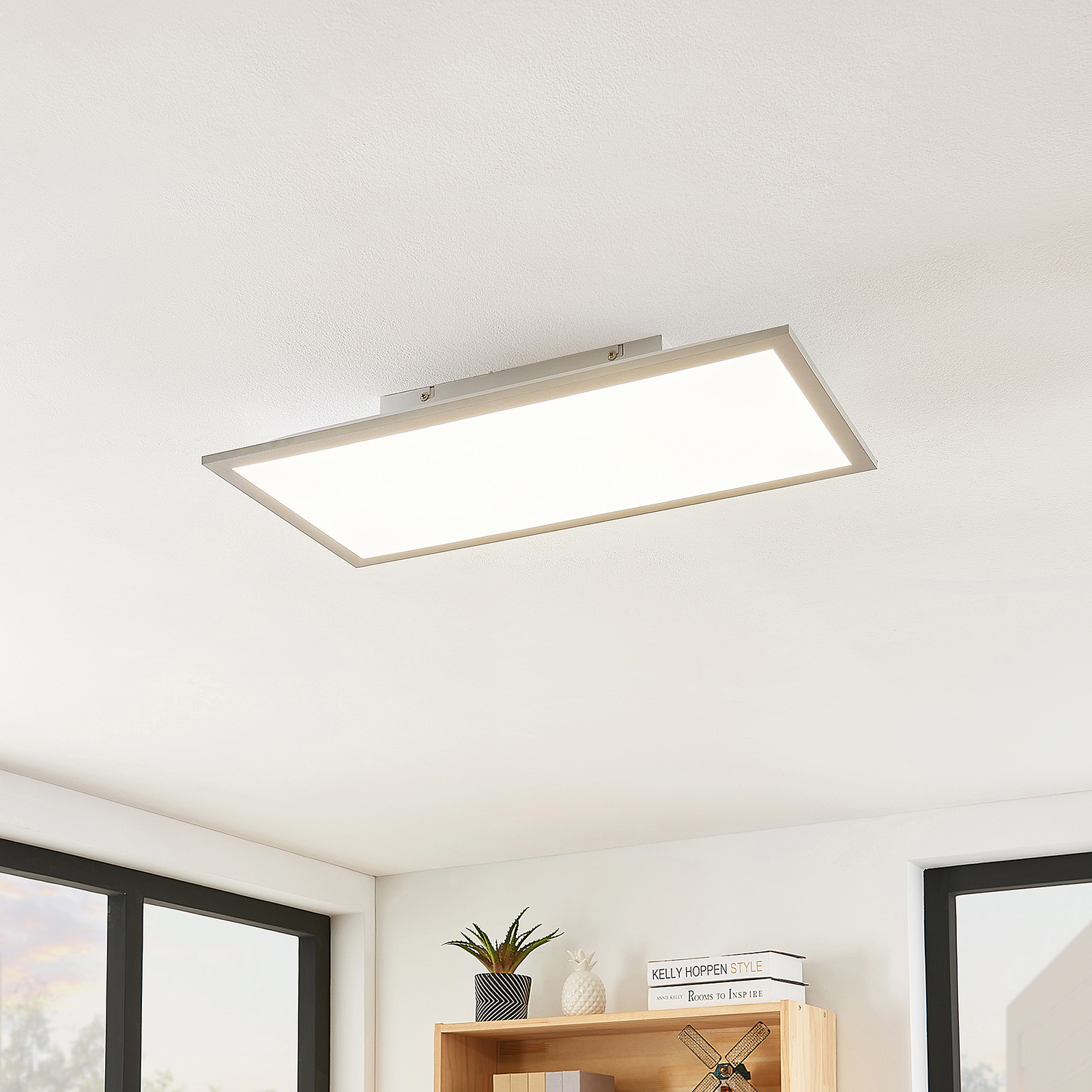Lindby Stenley panel LED, 4000K, 59 cm x 29 cm