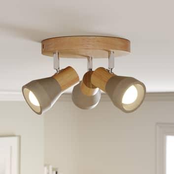 Spot LED Filiz en bois avec abat-jour en béton