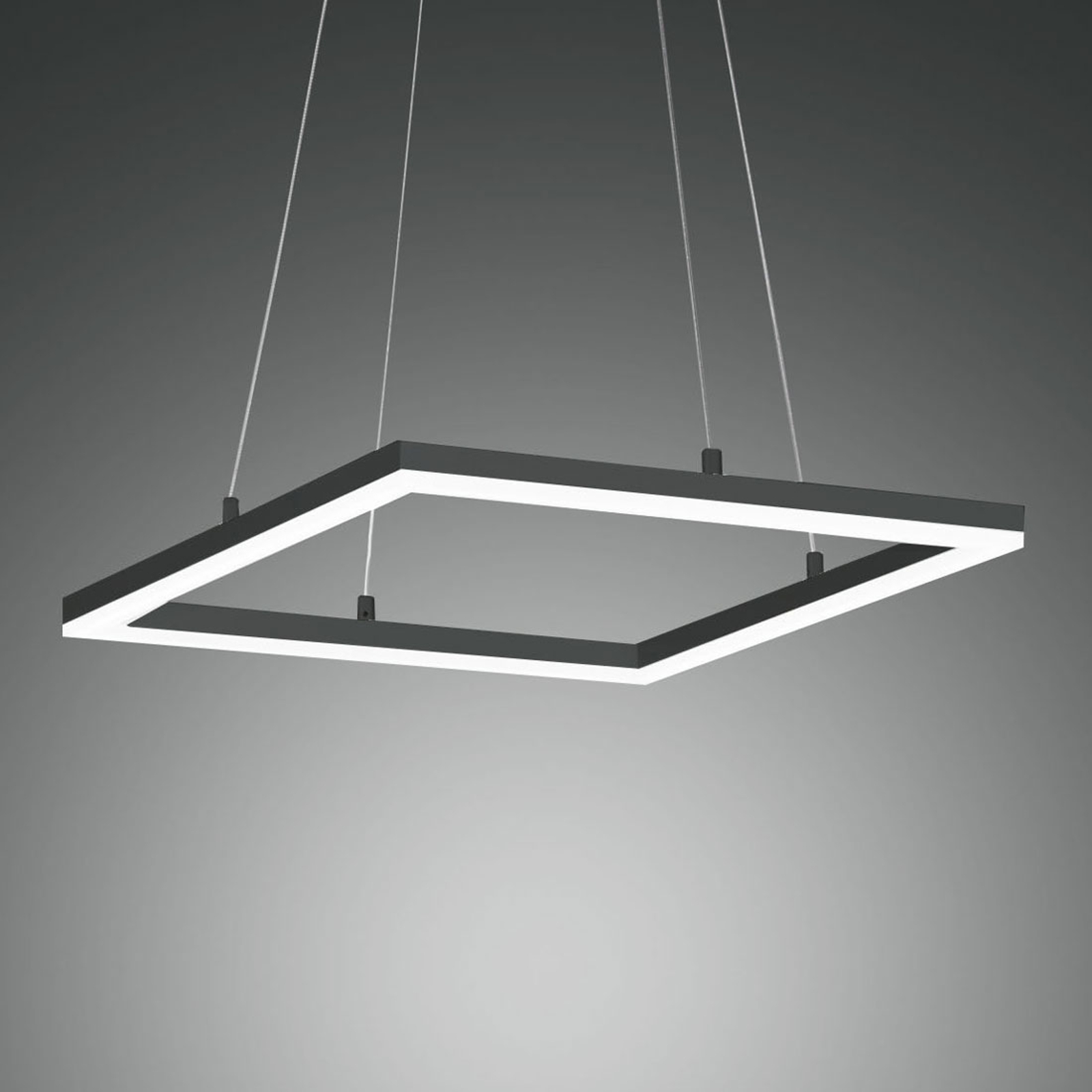 LED-hengelampe Bard, 42x42 cm, antrasitt