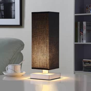 Czarna lampa stołowa LED MARTJE z tkaniny