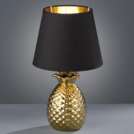 Lampe à poser Pineapple en céramique noir et or