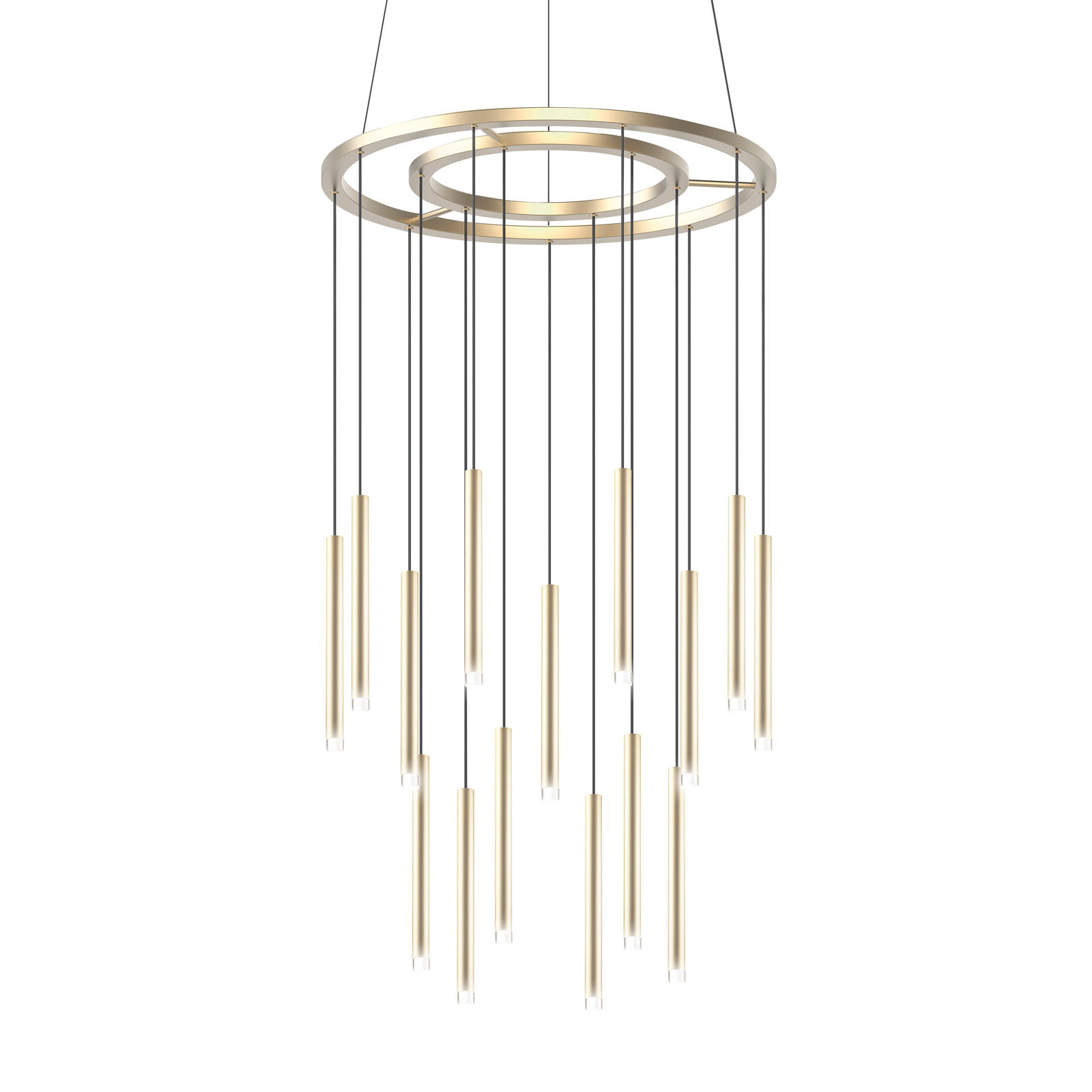 Grok Candle LED hanglamp 18-lamps in goud satijn