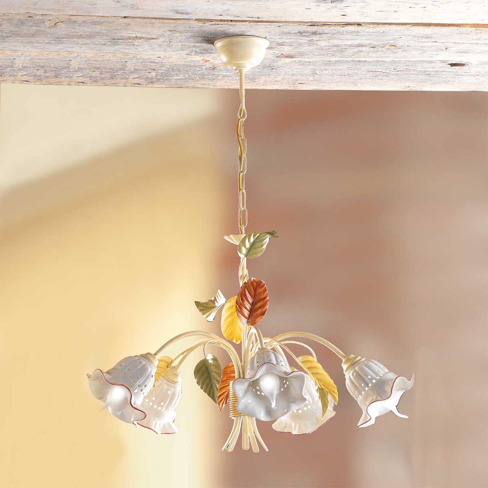 Lampada Flora in stile fiorentino, 5 punti luce