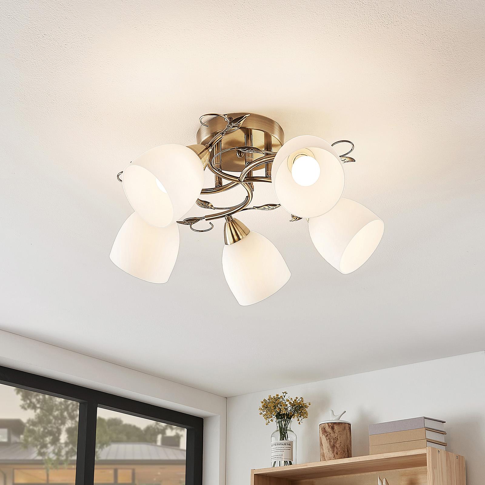 Lindby Thaddeus taklampe, 5 lyskilder, høyde 23 cm