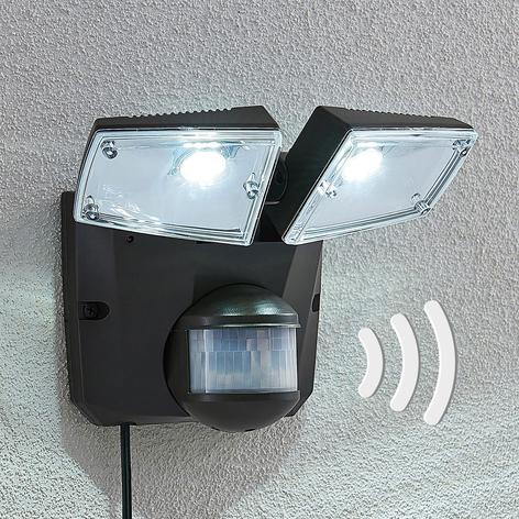 LED spot op zonne-en Ignaz, 2 lampjes, donkergrijs