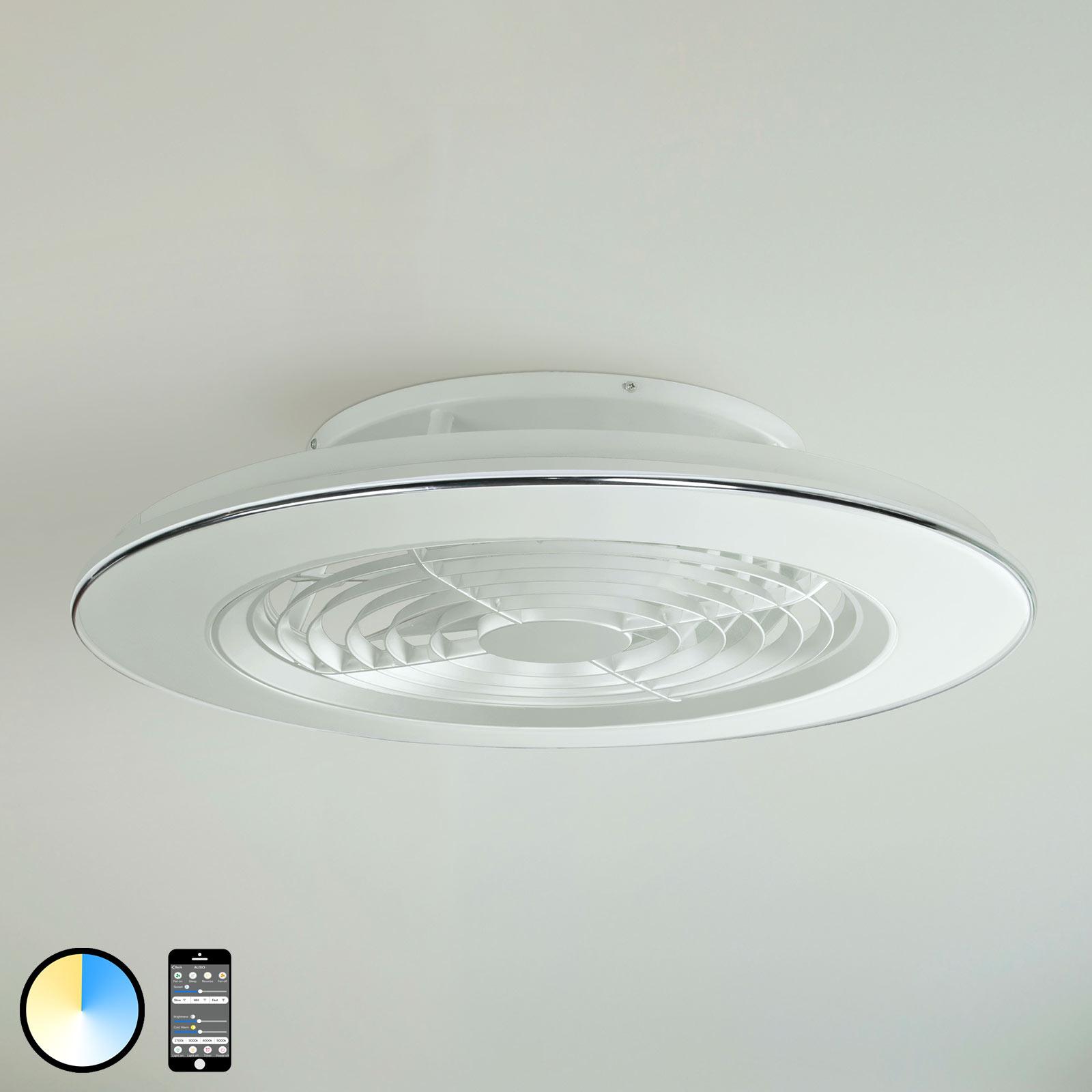 Deckenventilator Alisio, LED, App-steuerbar, weiß