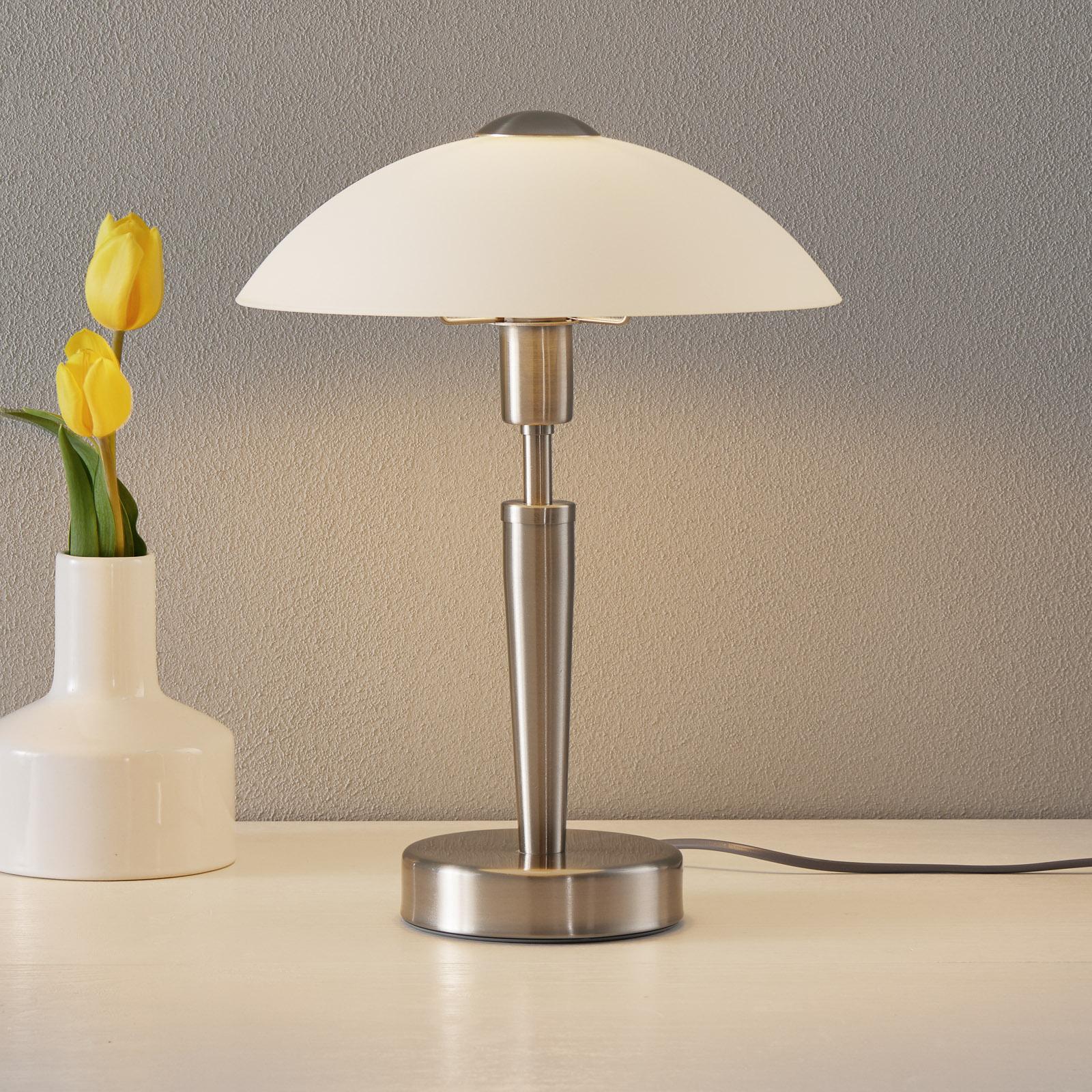 Elégante lampe à poser Salut, nickel, blanc