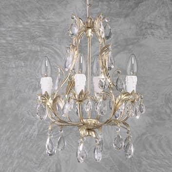 Takkrona PISA med 4 ljuskällor, silver, glas