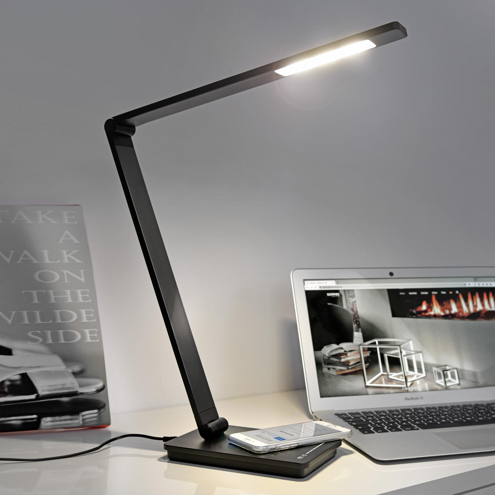 Skrivebordslampe Uli Phone, QI-ladestasjon, svart
