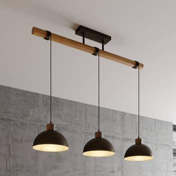 Lindby Holgar lampa wisząca, drewno i metal 3-pkt.