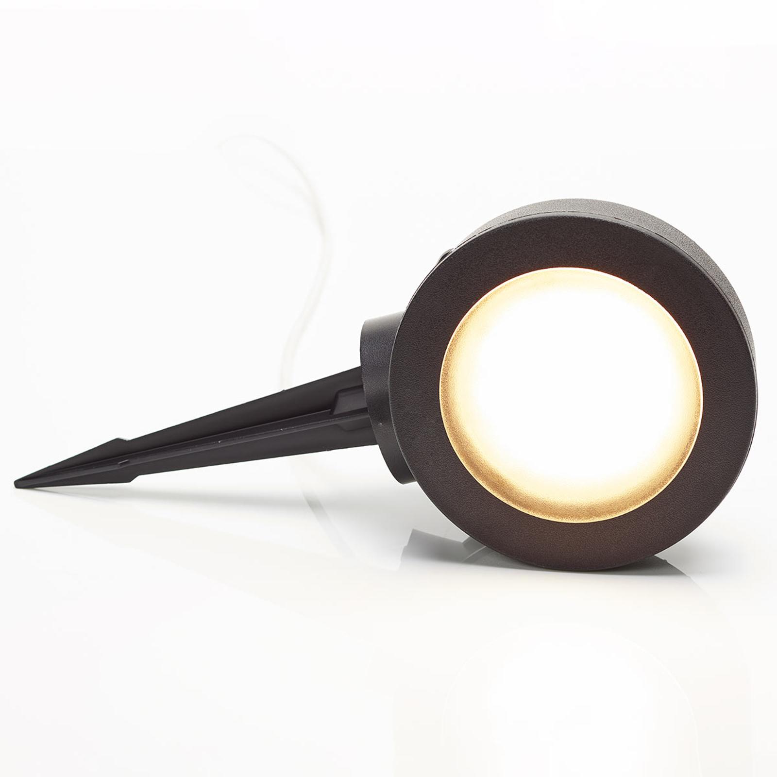 Spot picchetto Tommy rotondo nero 1 luce 10W CCT