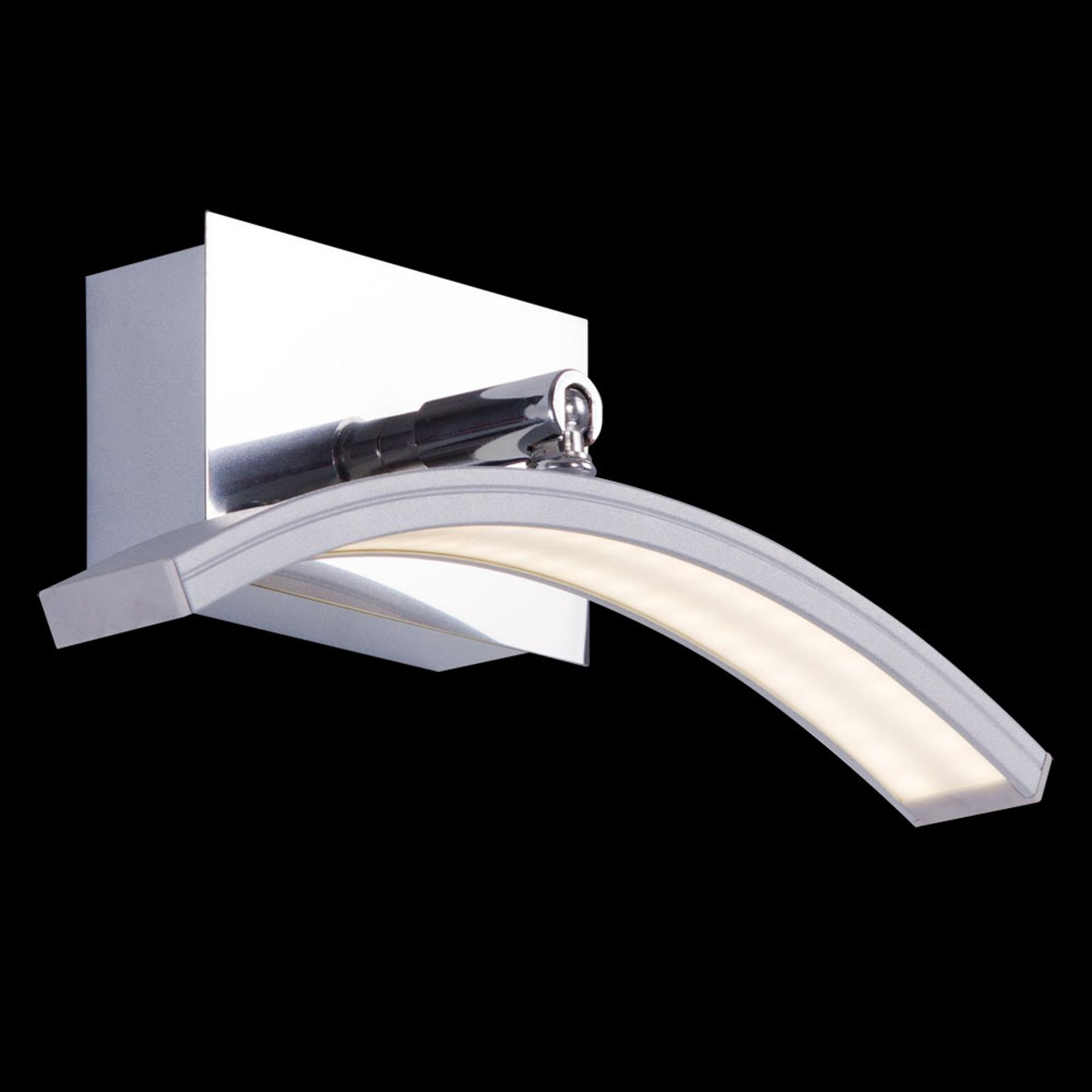 Boogvormige LED wandlamp Largo m. aluminium finish