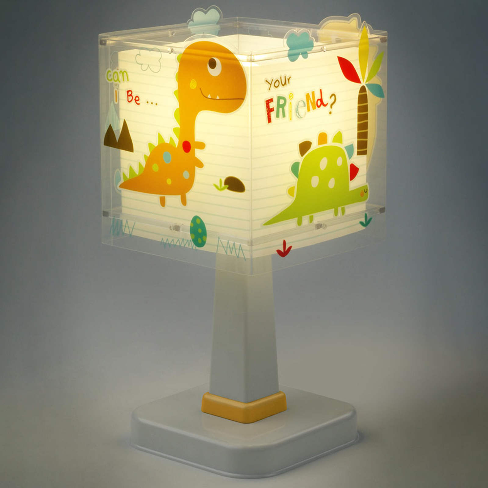 Hoekig vormgegeven kinderkamer tafellamp Dinos