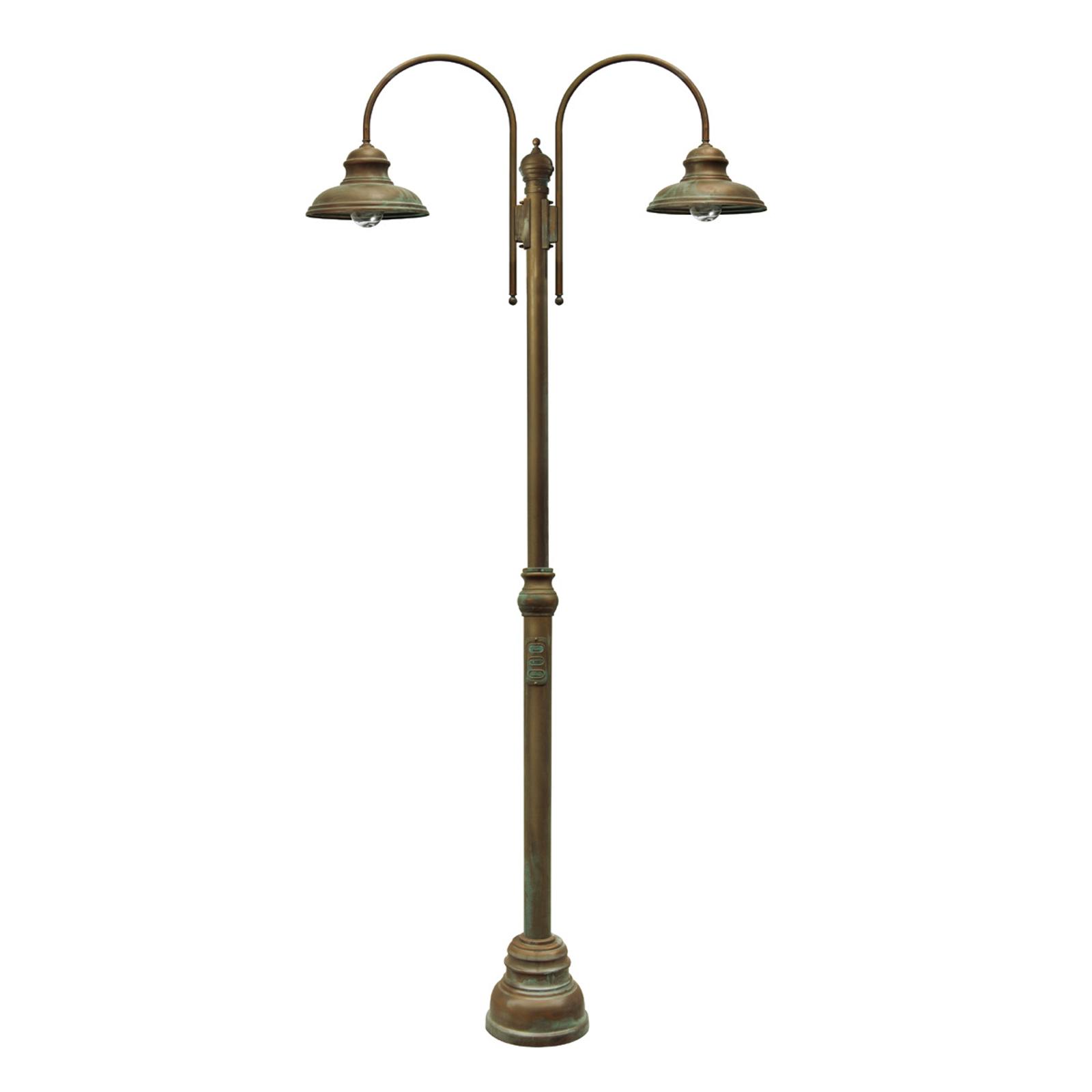 Lampione Luca ottone rame anticato, a 2 luci