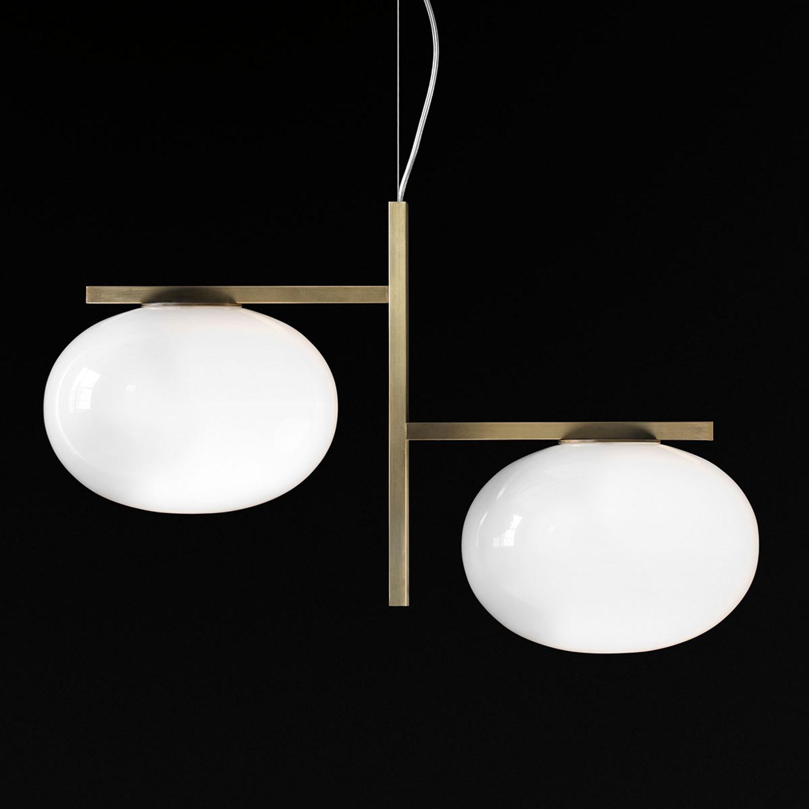 Oluce Alba - lampa wisząca dwa szklane klosze