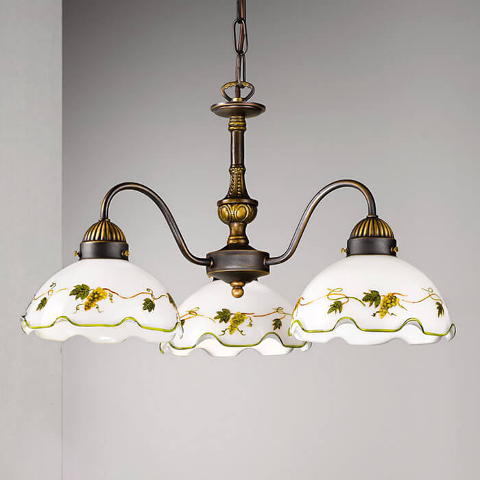 3-lichts hanglamp Nonna, druiven