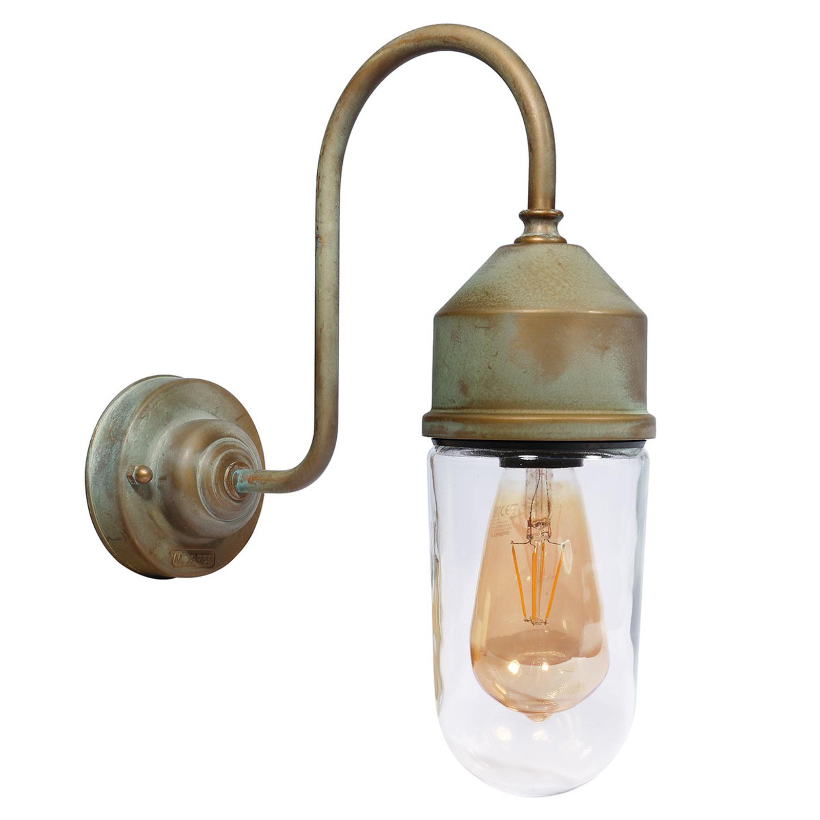 Wandlamp 1950N antiek messing, recht glas helder