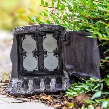 4-Facks energifördelare Baumstumpf för utomhusbruk
